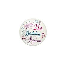 21st Birthday Princess Mini Button (10 pack)