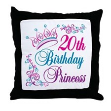 20th Birthday Princess Throw Pillow