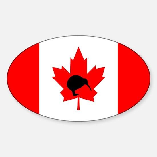 Canadian Flag Kiwi Oval Decal