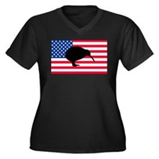 U.S. Kiwi Flag Women's Plus Size V-Neck Dark T-Shi