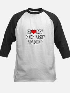 """I Love My Geography Teacher"" Kids Baseball Jersey"