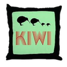 Retro Vintage Kiwi Throw Pillow