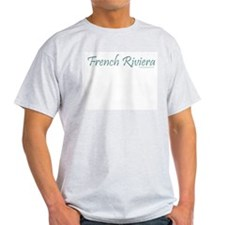 French Riviera (Teal) - Ash Grey T-Shirt