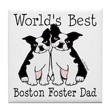 World's Best Boston Terrier Foster Dad Tile Coaste