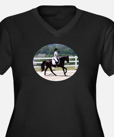 Dressage canter Women's Plus Size V-Neck Dark T-Sh