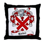 Barber Family Crest Throw Pillow