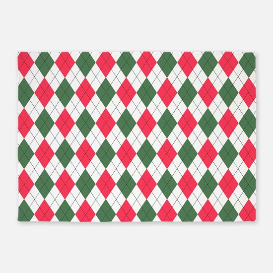 Red & Green: Argyle Pattern 5'x7'Area Rug