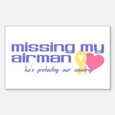 Missing My Airman Rectangle Decal