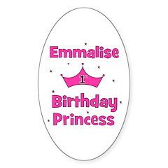1st Birthday Princess Emmalis Oval Decal