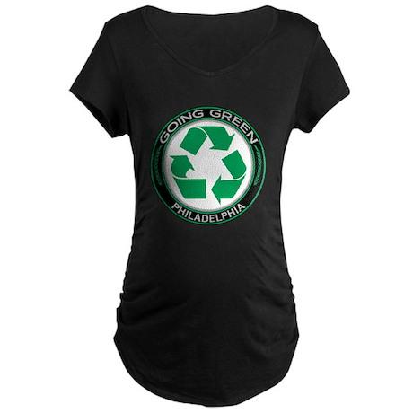 Going Green Philadelphia Recycle Maternity Dark T-