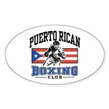 Puerto Rican Boxing Oval Stickers