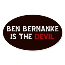Bernanke is the Devil Oval Decal
