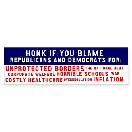 Bipartisan Blame Bumpersticker