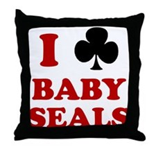 I Club Baby Seals Throw Pillow