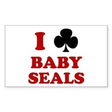 I Club Baby Seals Rectangle Decal