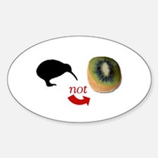 Kiwi not Kiwifruit! Oval Decal