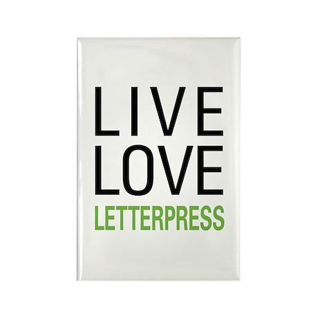 Live Love Letterpress Rectangle Magnet (10 pack)