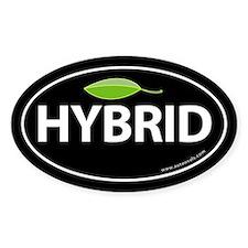 Hybrid Auto Bumper Oval Sticker -Black with Leaf