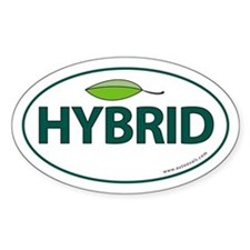 Hybrid Auto Bumper Oval Sticker -Green Leaf