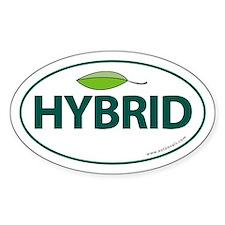 Hybrid Auto Bumper Oval Sticker -Green Leaf