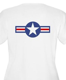 USAF-USA Flags Women's Plus Size Scoop Neck Tee