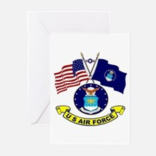 USAF-USA Flags Greeting Cards (Pk of 10)