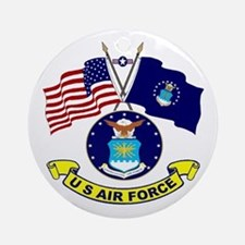 USAF-USA Flags Ornament (Round)