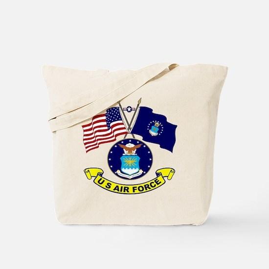 USAF-USA Flags Tote Bag