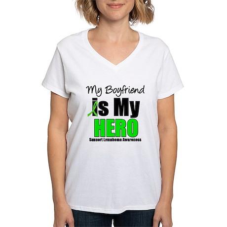 Lymphoma Hero (Boyfriend) Women's V-Neck T-Shirt