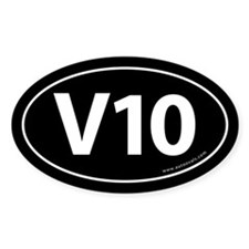 V10: 10 Cylinder Bumper Oval Sticker -Black