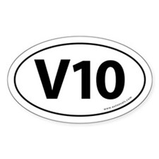V10: 10 Cylinder Bumper Oval Sticker -White