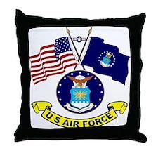 USAF/USA Flag Throw Pillow