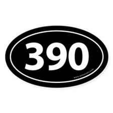 390 Auto Bumper Oval Sticker -Black