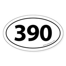390 Auto Bumper Oval Sticker -White