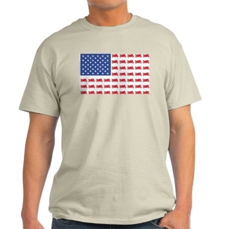 Sportbike Motorcycle Patriotic Flag Light T-Shirt