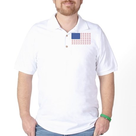 Bicycle Patriotic Flag Golf Shirt