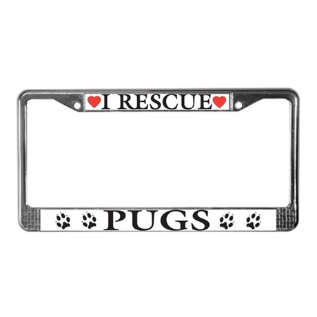 Pug Rescue License Plate Frame