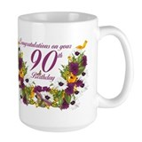90th birthday Large Mugs (15 oz)