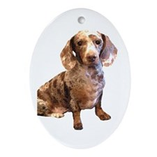 Spotty Dachshund Dog Oval Ornament