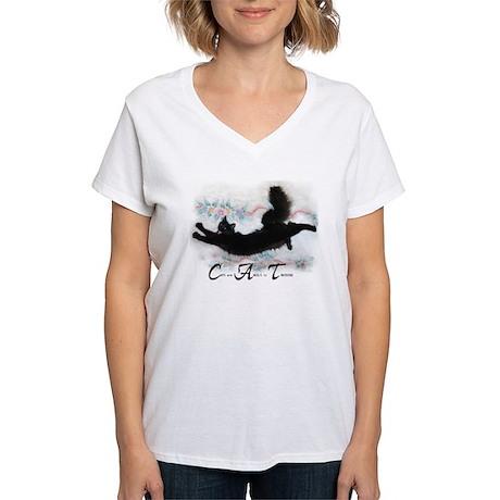 Cat Angel Women's V-Neck T-Shirt