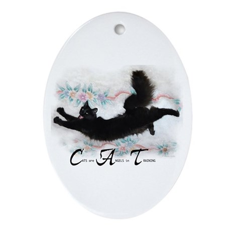 Cat Angel Oval Ornament