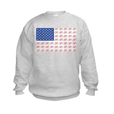 Bicycle Patriotic Flag Kids Sweatshirt