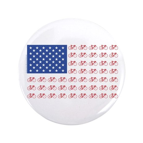 "Bicycle Patriotic Flag 3.5"" Button (100 pack)"