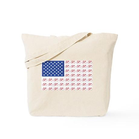 Bicycle Patriotic Flag Tote Bag