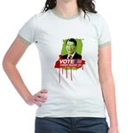 Vote Zombie Reagan in 2008 Jr. Ringer T-Shirt