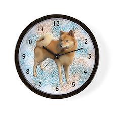 Finnish spitz portrait Wall Clock