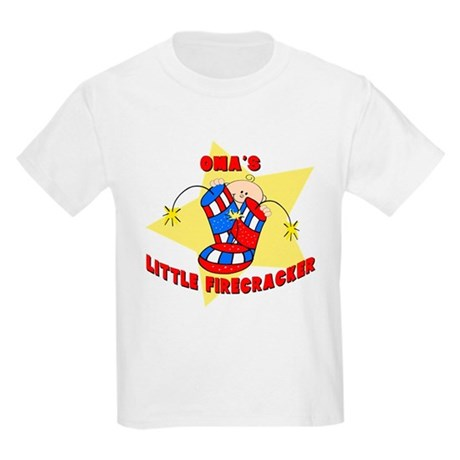 Oma's Firecracker July 4th Kids Light T-Shirt