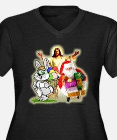 Easter Bunny, Jesus, Santa Cl Women's Plus Size V-