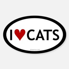I love cats oval sticker