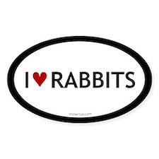 I love rabbits oval sticker